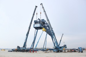 Instalação da casa de máquinas no terminal de barcaças (foto: divulgação).