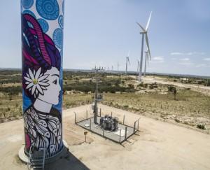Turbina eólica no Parque de Caetés (foto: divulgação).