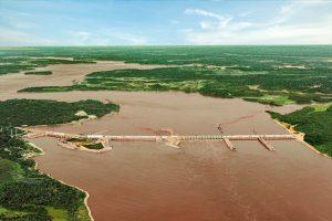 Vista Aérea da Hidrelétrica Santo Antônio. Foto de Paulo Vitale.